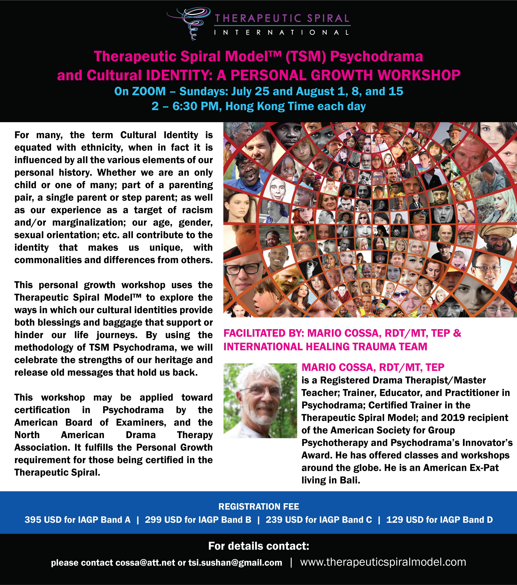 Therapeutic Spiral Model™ (TSM) Psychodrama and Cultural IDENTITY: A Personal Growth Workshop @ Via Zoom