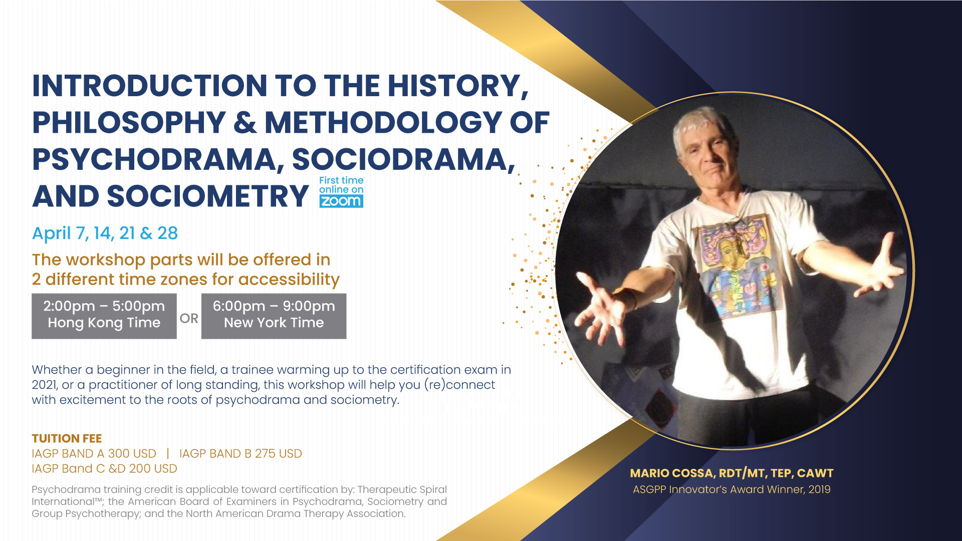 Intro to History, Philosophy & Methodology of Psychodrama, Sociometry & Group Psychotherapy