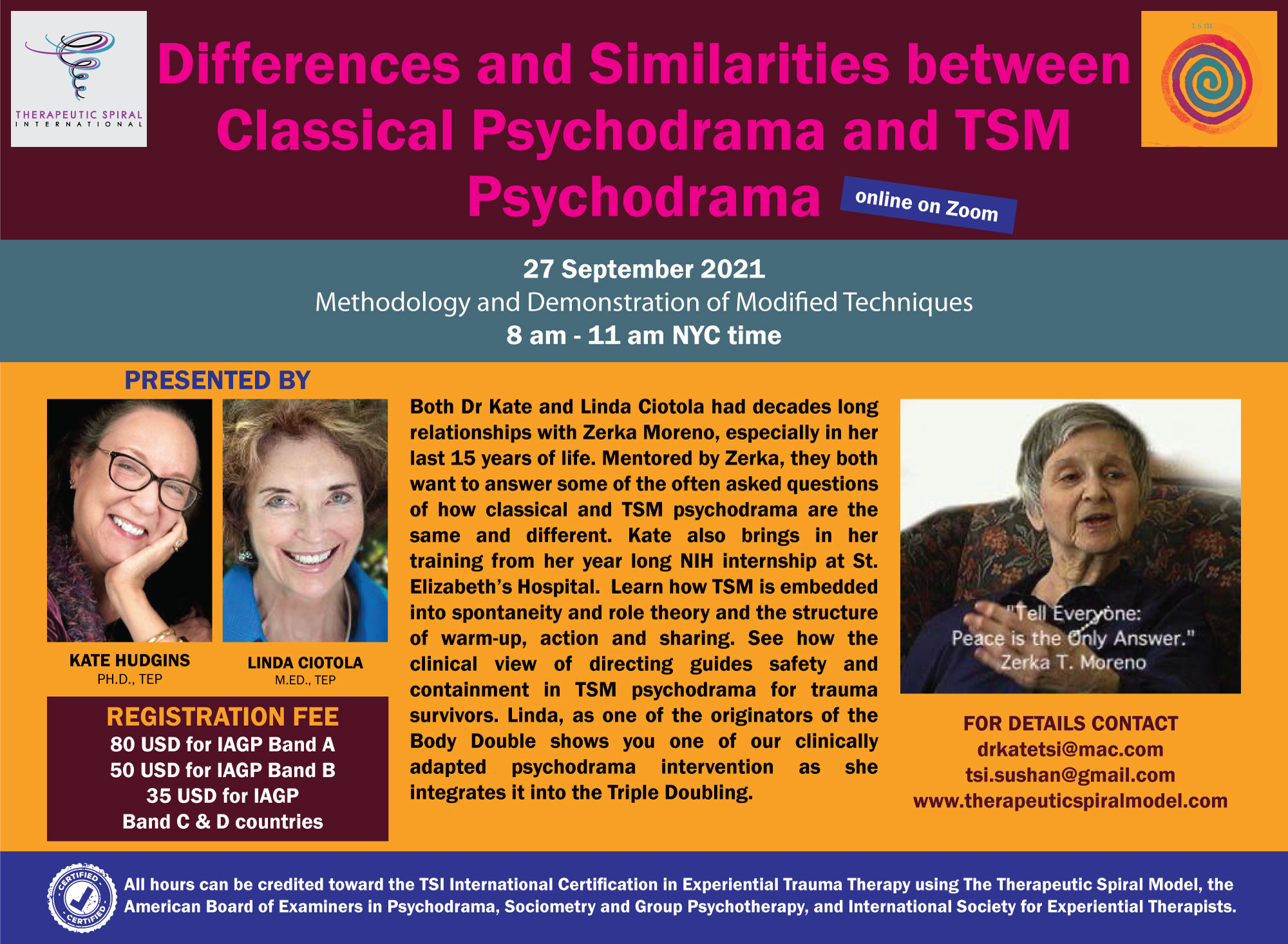 Differences & Similarities  between Classical Psychodrama and TSM Psychodrama @ Zoom